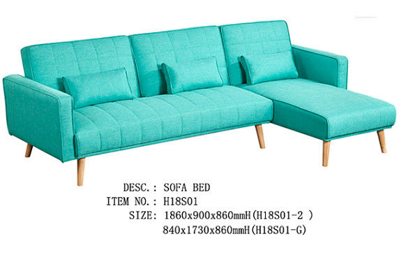Elegant Pure Foam Fabric Sofa Bed Solid Wood Legs Green Bright Colour