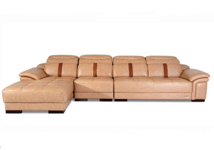 Durable Leather Sectional Sofa Bed Solid Wood Frame High Cushion